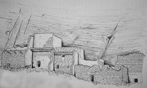 Sketch of a Salado cliff dwelling, Arizona