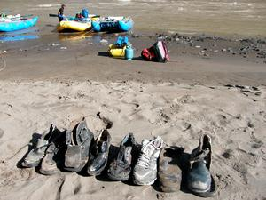 Shoes along the Gyalmo Ngulchu