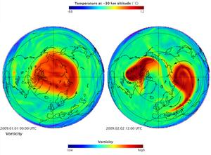 Polar vortex separation, January 2014